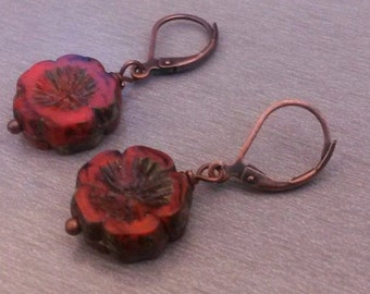 Czech glass flower beaded earrings