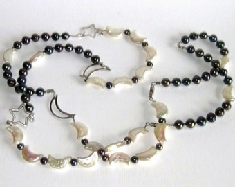 Unique necklace Pearls and 925 sterling Silver with moons and stars