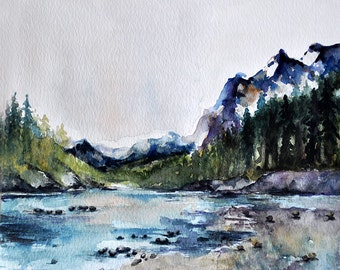 ORIGINAL Watercolor Landscape Painting 10x10 Inch, Mountain Lake Landscape