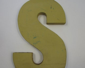 Vintage Lower Case S Wooden Letter - Yellow