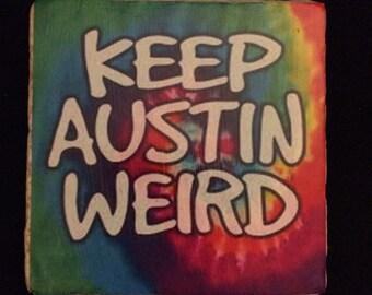 Keep Austin Weird travertine coaster