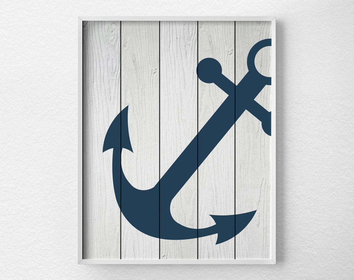 Anchor decor nautical bathroom rustic nautical print - Nautical decor bathroom ...