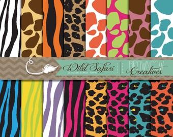 Wild Safari Digital Papers/Backgrounds
