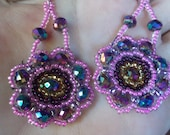 Hand beaded Dangle Pink Earrings