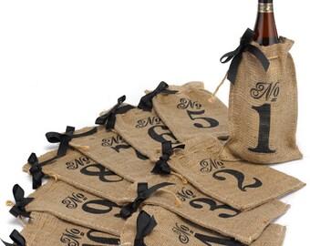 Burlap Wine Bag Table Numbers 1-10