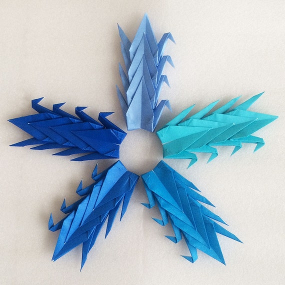 1000 3 blue tones origami paper cranes senbazuru for 1000 paper cranes wedding decoration