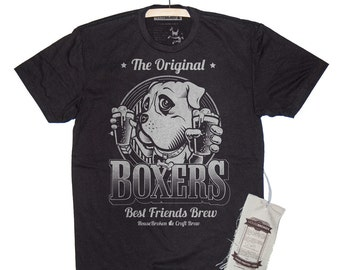 Boxer Shirt- Men's Boxer Dog T-Shirt. Men's Craft Beer Shirt in Sizes Small to XXXL