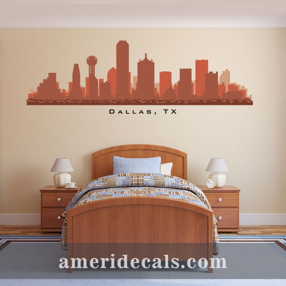 Dallas texas skyline wall decal art vinyl print removable for Real estate office wall decor