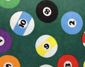 One Half Yard of Fabric - Pool Balls - FLANNEL
