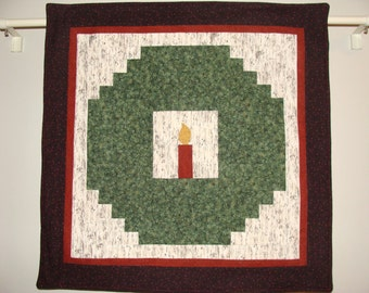 Log Cabin Wreath Wall Hanging with Candle