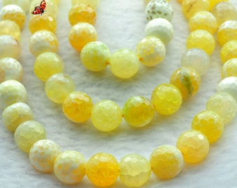Fire Agate faceted round beads 12mm,32 pcs