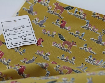 Woodland Critters in Mustard from Hokkoh Japan, Half Yard, 100% Cotton Corduroy Fabric, Fine Wale, HSP-8000-5A