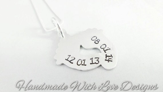 Baby feet Handstamped Necklace, new baby necklace, christening gift, personalised necklace, name pendant, gift for her