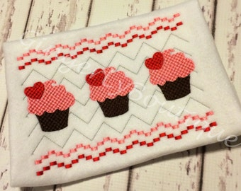 Valentine Heart Cupcake Faux Smocking Shirt or Bodysuit