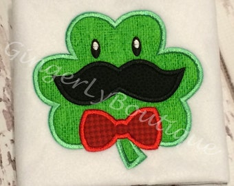 Shamrock With Mustache and Tie St Patricks Day Shirt or Bodysuit, Boy St Patricks Day Shirt, Boy Shamrock Shirt, Boy St Patty's Shirt