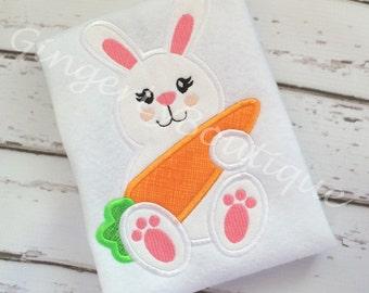 Girl Bunny with Carrot Shirt or Bodysuit, Girl Easter Shirt, Girl Easter Bunny Shirt, Girl Easter Egg Hunt Shirt, Easter Shirt for Girls