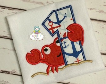 Crab Birthday Shirt Or Bodysuit, Summer Birthday, Beach Theme Birthday