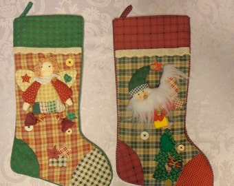 SALE! Lot of 2 Handmade Country Christmas Stocking,Handmade Stockings,Matching Christmas Stockings
