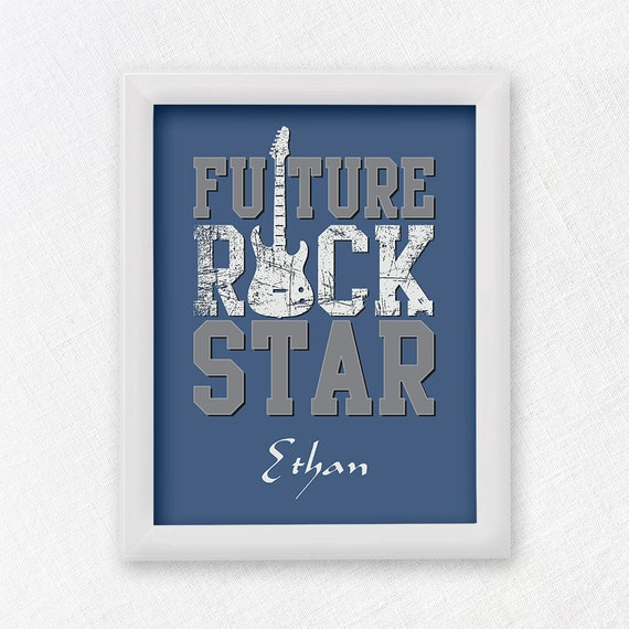 Future rock star baby nursery print nursery by blanchardbits for Rock n roll baby crib set