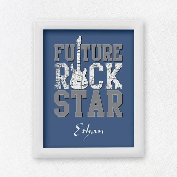 Future rock star baby nursery print nursery by blanchardbits for Rock n roll baby crib set