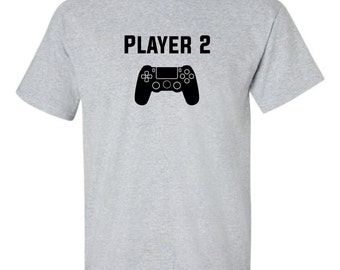 Player Two 2 Men's T-shirt Video Game Gamer Partner Love Couples Tee