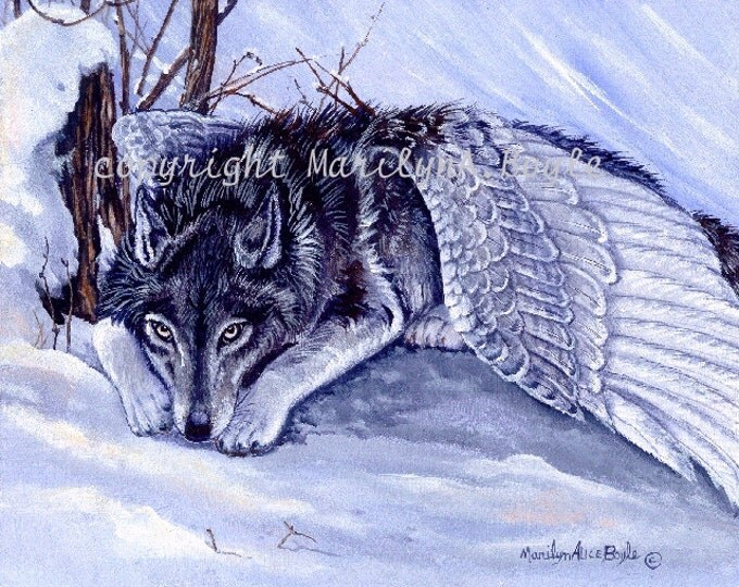 GICLEE WOLF PRINT; Fantasy, wolf with wings, winter, snow, wilderness, wildlife, nature, wall art, 10 x 12.50 inches