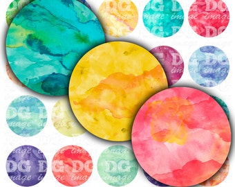 """Watercolor Digital Collage Sheet Round 2"""" 50mm 1.5"""" 1.25"""" 30mm 1"""" 25mm Aquarelle bottlecaps, gift tags, pendants, cupcake toppers, buttons"""