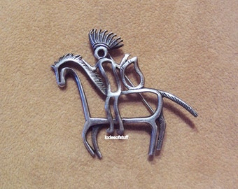 Coble Corey Sterling Brooch Native American Warrior On Horse
