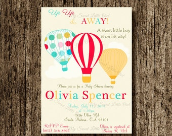 Hot air balloon invitation - balloon printable - balloon invite - balloon birthday - hot air balloon baby shower - hot balloon label