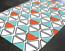 Orange Turquoise - Turquoise Rug - Geometric Rug - Kids Room Rugs - Orange Rug- Teen Room Decor- Nursery Floor Rug- Kids Floor Rugs- Rug 5x8