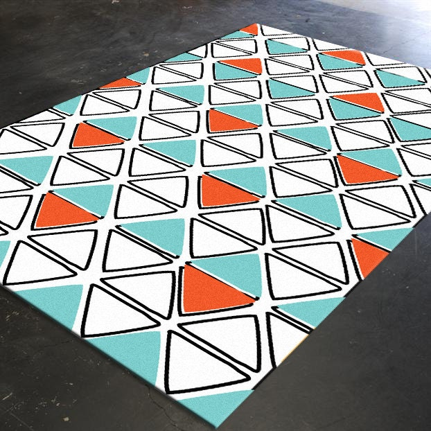 Orange Turquoise Turquoise Rug Geometric Rug By Hawkerpeddler