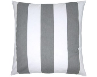 Grey white vertical stripes pillowcase 50 x 50 cm