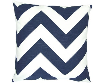 ZIPPY Cushion cover 50 x 50 cm Blue, white linen look zigzag maritim