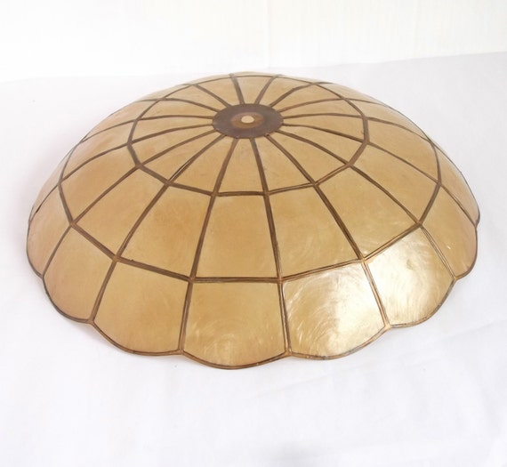 Mid century capiz shell ceiling fixture shade capiz by for Shell ceiling light fixtures