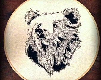 Intricately hand stitched Grizzly Bear Embroidery
