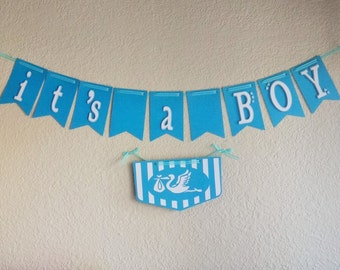"""Baby Shower - """"It's a BOY"""" and Stork flag"""