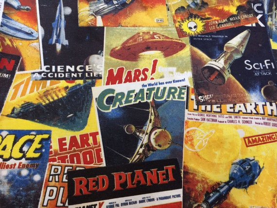 Sci fi mars space cotton print fabric vintage by for Retro space fabric uk