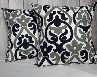 Throw Pillows. Pillow Covers. Black Grey Pillows. Black Pillow Covers. Grey Pillow Covers