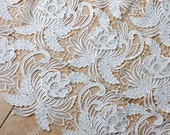 2015 New milk fiber embroidered bridal 3D flowers lace fabric by the yard