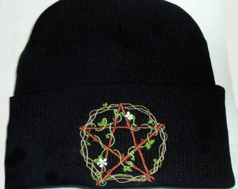 Wicca Beanie Hat,Vines,Flowers,Pentgram, Wiccan Clothing,Pagan Clothing,