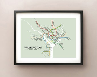 Washington Metro Subway Style Map Art Print