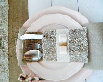 Set of 12 Burlap Silverware Holders with lace - Rustic table decor