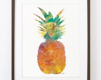 Watercolor Art Print - Wall Decor Art Print - Pineapple Archival 8 x 10 Print - Pineapple Print Wall Decor, Home Decor