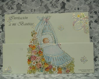 Retro Vintage Spanish Baptism Invitations 25 pieces .75 cents each Baby Boy Blue Card