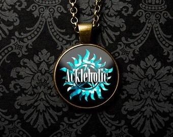 Supernatural Necklace, Supernatural Keychain, Ackeholic, Jensen Ackles, Supernatural Fan, Supernatural Jewelry, Supernatural Show