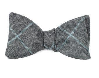 The Grey Blue Plaid self-tie bow tie in 100% Scottish wool