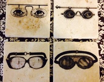Victorian Glasses & Goggles Marble Tile Coasters - Set of 4 // Vintage // Victorian // Eye Glasses // Steampunk // Eyewear // Eye Test
