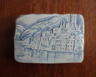 Vintage Bertuzzi, Castle of Malcesine Clay Relief Art Tile, Italy, Verona, Veneto, Venice, Blue,White, Rustic Accent Decor, European History