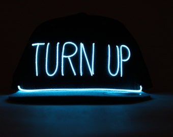 Light Up TURN UP Hat made with El Wire in all colors; blue, green, orange, yellow, pink, purple, white