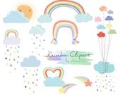 Rainbow Clip Art, Rain Cloud, Raindrops clipart  PNG file-300 dpi